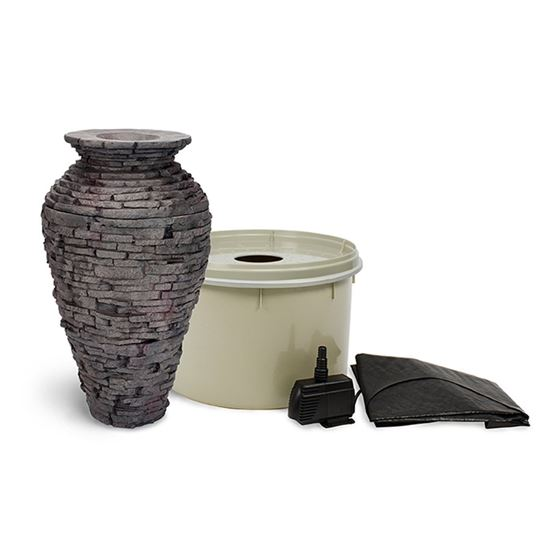 Small Stacked Slate Urn Fountain Kit with Pump and Basin, 32 Inches Tall
