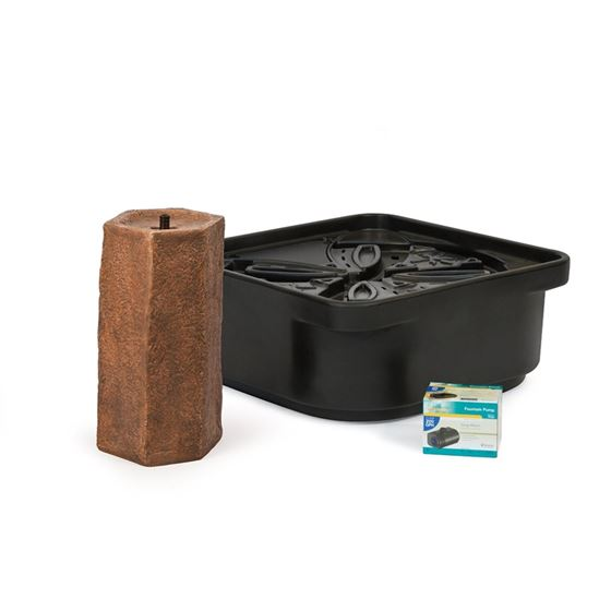 Basalt Column Fountain Kit with Pump and Basin, 16-Inch