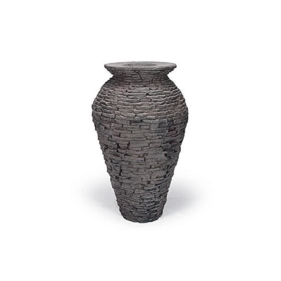 Medium Stacked Slate Urn Fountain for Landscape and Gardens, 45 Inches Tall