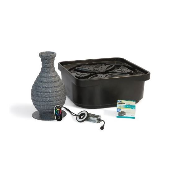 Fountain Kit, Color Changing Vase with Pump and Basin